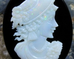 26.05 CTS WHITE OPAL CRYSTAL CAMEO LADY CARVING C5372
