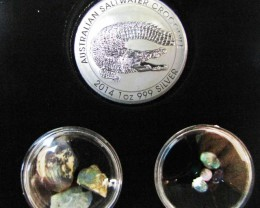 Crocodile Silver Coin &  black Opal series CCO 100