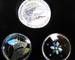 Crocodile Silver Coin &  black Opal series CCO 102