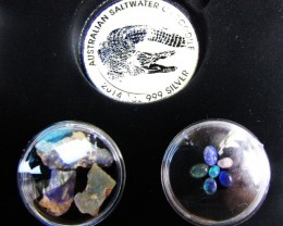 Crocodile Silver Coin &  black Opal series CCO 103