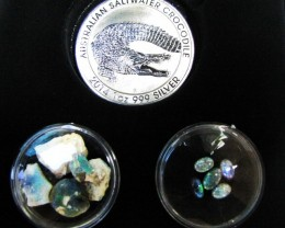 Crocodile Silver Coin &  black Opal series CCO 107