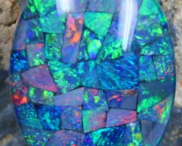 17.60 CTS TOP QUALITY MOSAIC OPAL ELECTRIC COLOR PLAY
