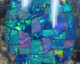 16.15 CTS TOP QUALITY MOSAIC OPAL ELECTRIC COLOR PLAY C5481