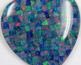 114.00 CTS TOP QUALITY HEART MOSAIC OPAL ELECTRIC COLOR PLAY C5484