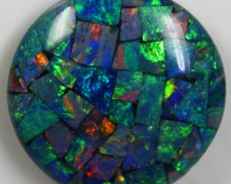 14.85 CTS TOP QUALITY ROUND MOSAIC OPAL ELECTRIC COLOR PLAY C5495