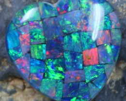 14.30 CTS TOP QUALITY HEART MOSAIC OPAL ELECTRIC COLOR PLAY C5501