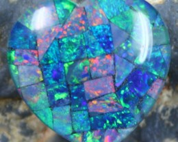 14.45 CTS TOP QUALITY HEART MOSAIC OPAL ELECTRIC COLOR PLAY C5502