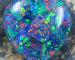 14.45 CTS TOP QUALITY HEART MOSAIC OPAL ELECTRIC COLOR PLAY C5504