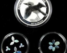 2011 TREASURES OPAL & KOOKABURRA SILVER COIN SERIES ATKK 12