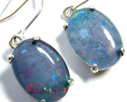 Sheppard hook Triplet opal earrings silver Pl1069