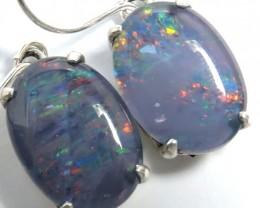 Sheppard hook Triplet opal earrings silver Pl1071