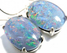 Sheppard hook Triplet opal earrings silver Pl1074