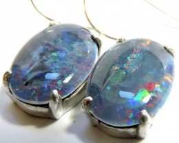 Sheppard hook Triplet opal earrings silver Pl 76106