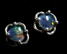Cute  Triplet opal earrings silver Pl 1081