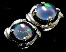 Cute  Triplet opal earrings silver Pl 1084