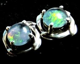 Cute  Triplet opal earrings silver Pl 1087