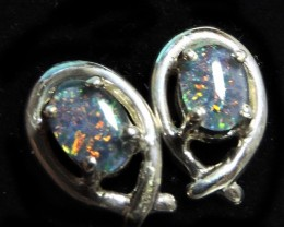 Cute  Triplet opal earrings silver Pl 1088