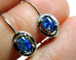Sheppard hook  Triplet opal earrings silver Pl 1093