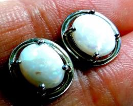 Cute  Crystal 8x6 mmopal earrings silver Pl 1122