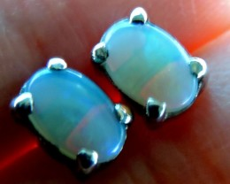 Cute  Crystal 6x4 opal earrings silver Pl 1126