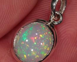 Opal Pendant. Sterling Silver. Ethiopian Welo Fire Crystal Opal Necklace