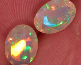 Designer Set Of Faceted Opals. Ethiopian Welo Fire Crystal Opal.