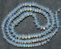 60.45 Ct Natural Ethiopian Welo Opal Beads Play Of Color 17inch
