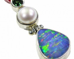 OPAL DOUBLET AND PEARL PENDANT -SILVER[SOJ4093 ]