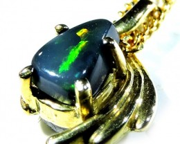 Freeform black opal in 18 k gold pendant SCO 214