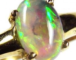 Black crystal opal set in 18 k gold ring size 6 sco 592