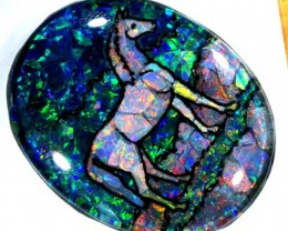 QUALITY BLACK MOSAIC OPAL LIGHTNINGRIDGE HORSE 98.1  CTS JJ-1