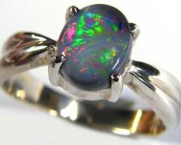 Black Opal ring in 18k White gold size 6 SCO 573a