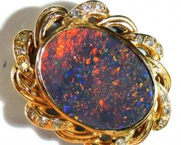 Red Fire Black Opal set in 18k Gold Pendant SCO 725