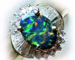 Gem Black Opal ,Diamonds set in 18k Gold Ring Size 6 SCO 1205