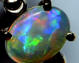 BLACK CRYSTAL OPAL 18K GOLD RING SIZE 6 SCO1263Aa
