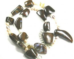 UNIQUE NECKLACE BOULDER OPAL WITH GEMSTONE CREATION SET22