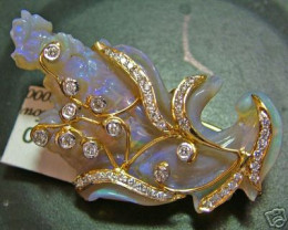 42.7CTS OPAL SOLID BROACH 9K GOLD/DIA.  RRP$8400(EB)