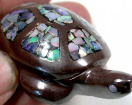 HAND CARVED TURTLE FROM IRONSTONE BOULDER INLAY 370CTS KO161