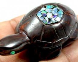 BEAUTIFUL INLAID OPAL TURTLE 180 CARATS Q71