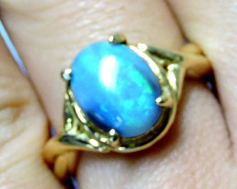HIGH CABOCHON OPAL 18K GOLD RING SIZE 5 A834