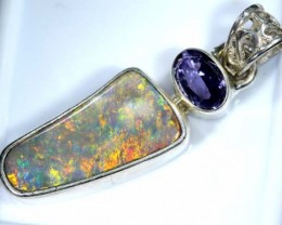 OPAL SILVER PENDANT WITH TOPAZ  12.0 CTS   OF-392