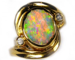 Boulder Crystal  Opal set in 18k Gold Ring Size 5.5 SS864