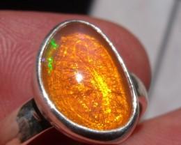 Bezel set Opal gem taxco silver ring sz 5.75