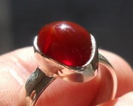 Bezel set Opal gem taxco silver ring sz 5.5