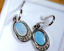 OPAL SILVER INLAY EARRINGS 11.0 CTS  OF-454