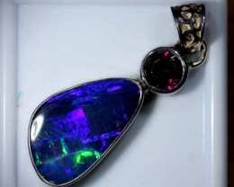 OPAL SILVER PENDANT WITH RUBY  12.6 CTS   OF-459
