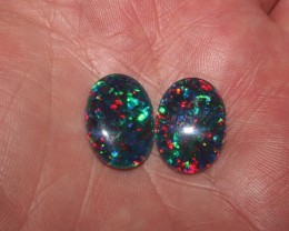 Black Opal Super Gem Triplet Opal Pair 12 carats