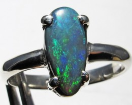 Freeform Black Opal set in Silver Ring Size 7  pl 1193