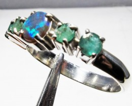 Solid Opal & Emerald set in Silver Ring Size10   PL 1202