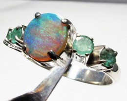 Solid Opal & Emerald set in Silver Ring Size 8  PL 1203